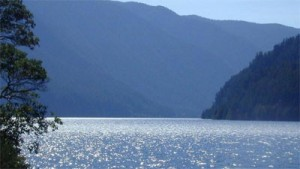 Lake Crescent glittering in sunlight